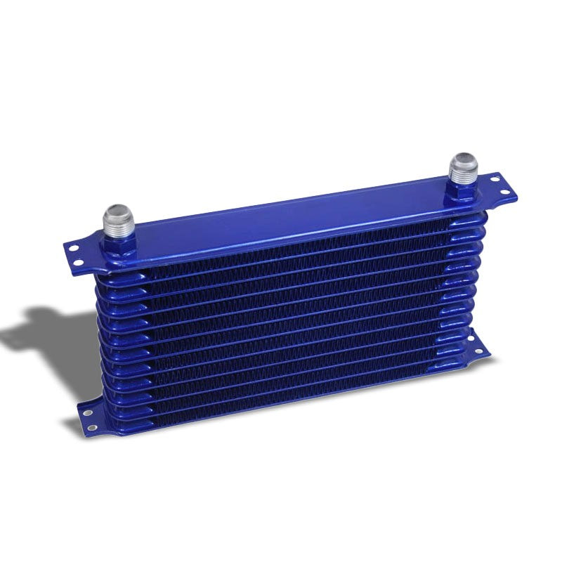 12 Row 10AN Blue Aluminum Engine/Transmission Oil Cooler+Black Relocation Kit-Performance-BuildFastCar