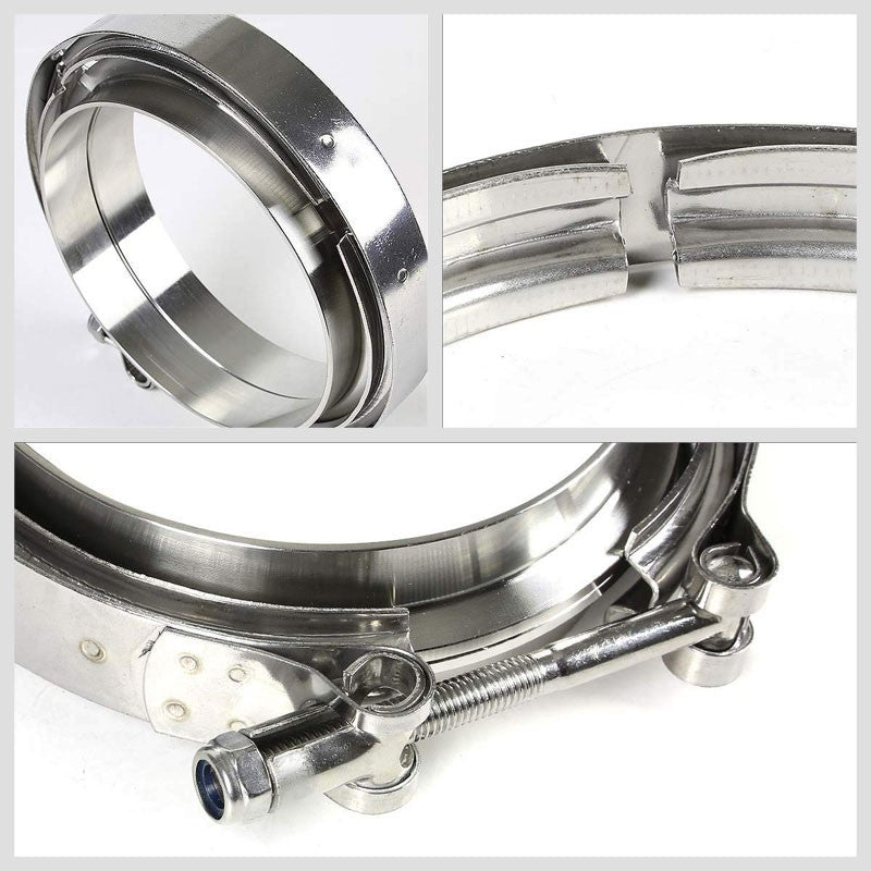 "4.50"" 114mm Zinc Coat V-Band Clamp+Flange for Turbo Downpipe Intercooler Exhaust-Performance-BuildFastCar"