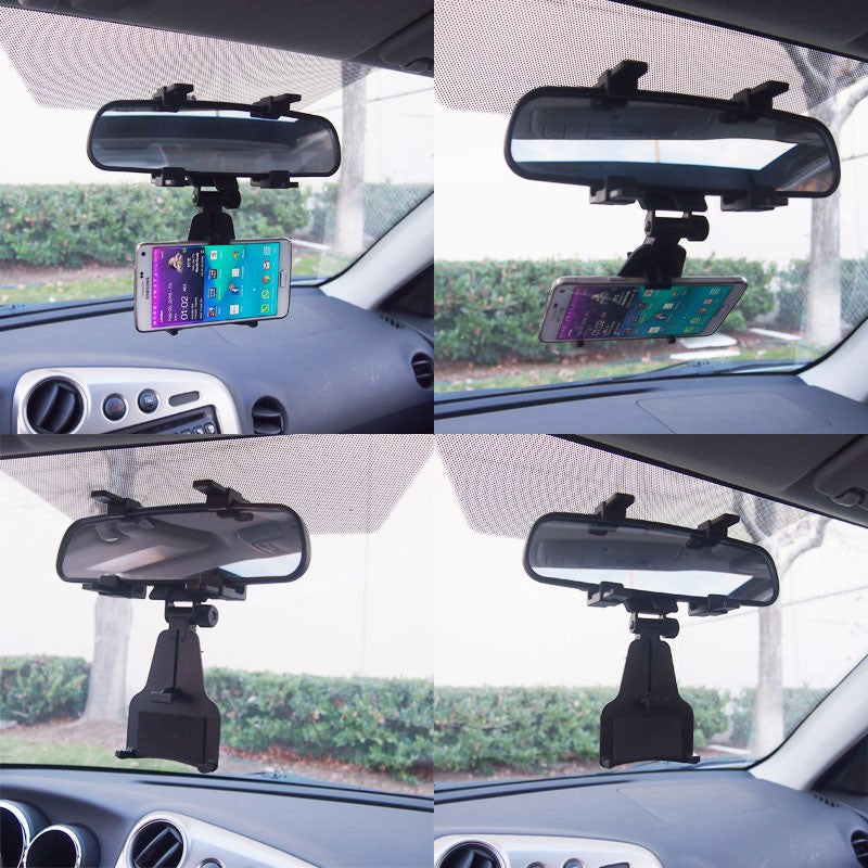 Black Adjustable Car Rearview Mirror Clip Mount Bracket Holder For Phone/Mobile-Accessories-BuildFastCar