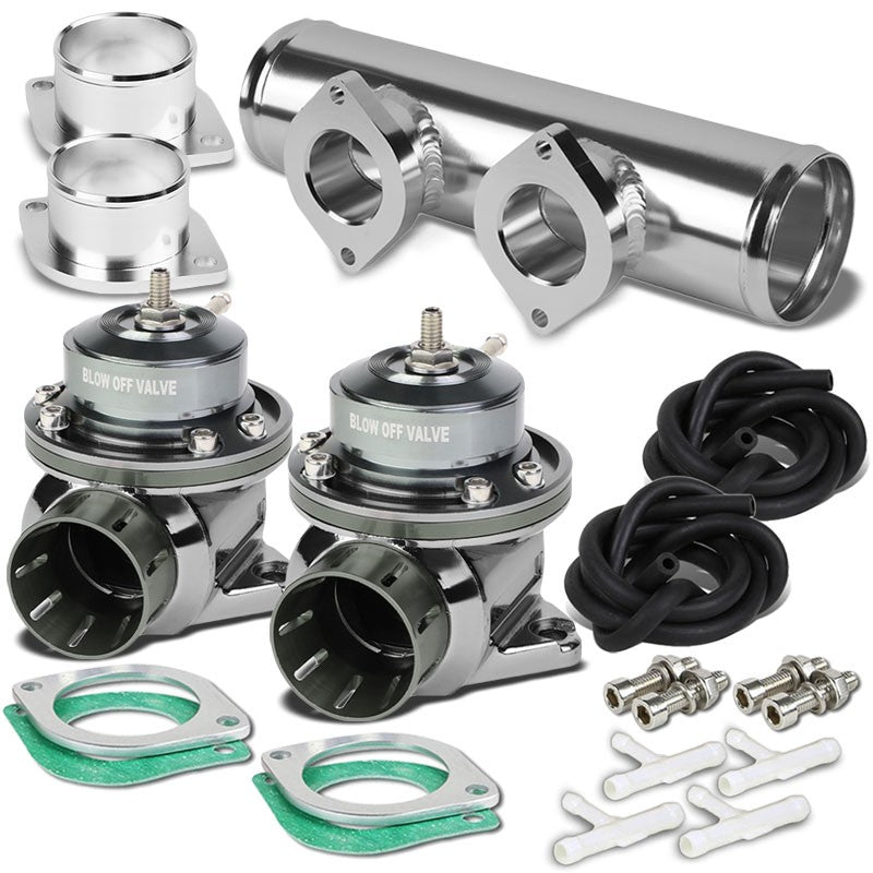 "Gunmetal Type-FV 30 PSI 2Pcs Blow Off Valve+Silver 2.5"" Dual Port Flange Pipe-Performance-BuildFastCar"