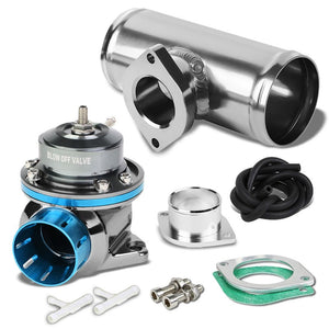 "Light Blue Type-FV 30 PSI Blow Off Valve+Silver 6"" Straight Flange Pipe Adapter-Performance-BuildFastCar"