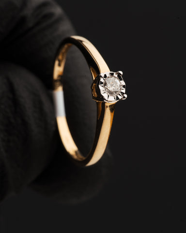 0.10 CT. Diamond Engagement Ring in 14K Gold