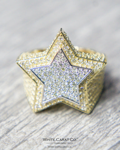 4.50 CT. Two Tone Star Diamond Men's Ring in 10K Gold