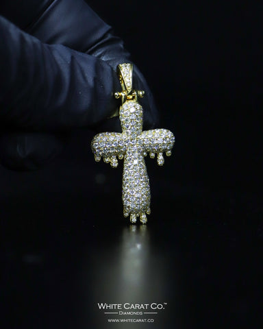 "1.85 CT. ""Small Cross"" Gold Pendant in 10K Gold"