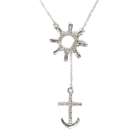 0.05 CT. Anchor and Ship Wheel Diamond Pendant in 10K White Gold (Chain Included)