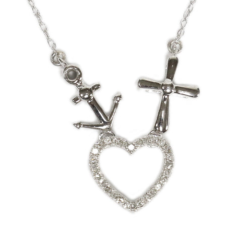 0.08 CT. Heart, Anchor, and Cross Diamond Pendant in 10K White Gold (Chain Included)