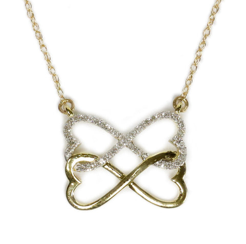 0.10 CT. Infinity Hearts Diamond Pendant in 10K Yellow Gold (Chain Included)