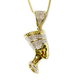 COMBO: 0.35 CT. Nefertiti Diamond Pendant in 10K Gold & 26 inch 10K Gold Solid Franco Chain
