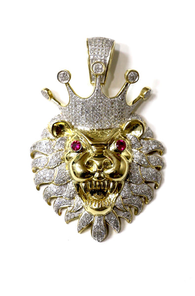 1.40 CT. Roaring Lion Diamond Pendant in 10K Yellow Gold