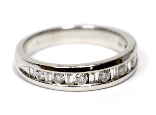 0.75 CT. Round and Baguette Cut Diamond Wedding Band in 14K White Gold