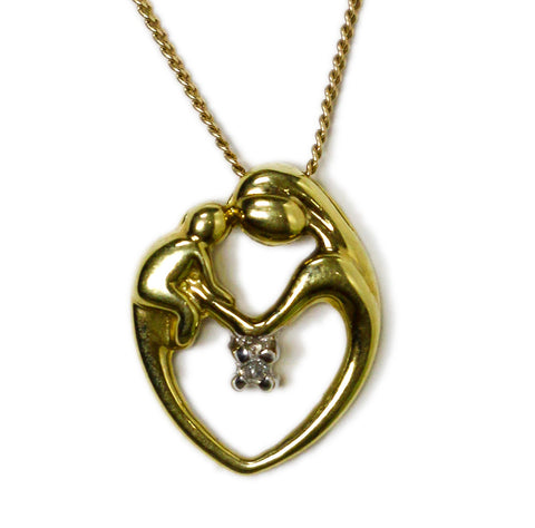 0.05 CT. Mother and Child Heart Diamond Pendant in 10K Gold (Chain Included)