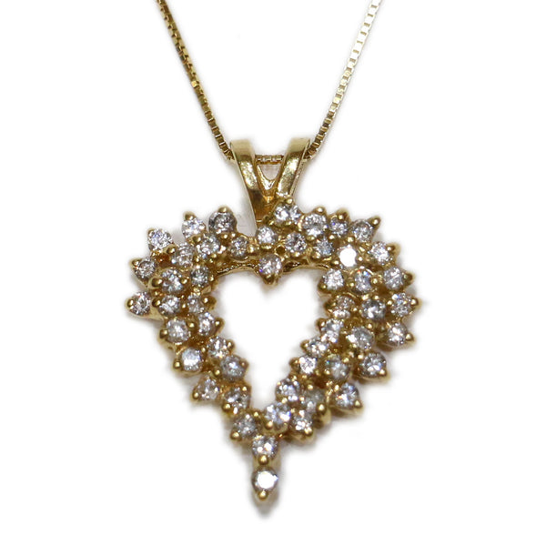 1.0 CT. Heart Diamond Pendant in 14K Gold (Chain Included)
