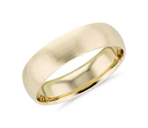 14K Gold Classic Brush Finished Wedding Band - 6mm (Yellow or White Gold)