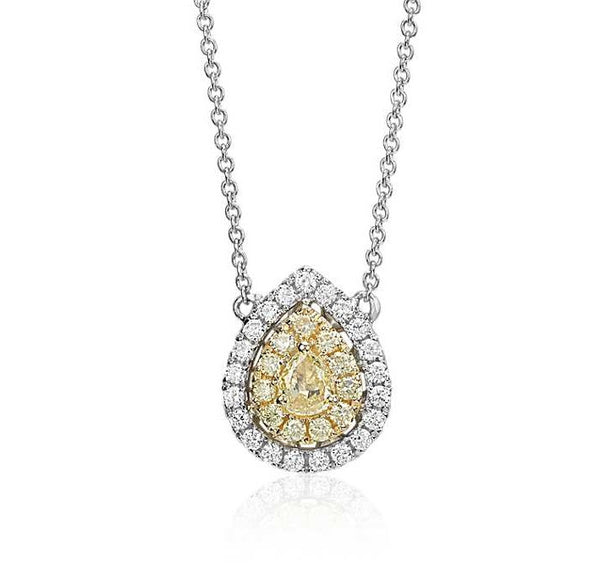 1/4 CT. Yellow Diamond Pear Necklace in 18k White and Yellow Gold