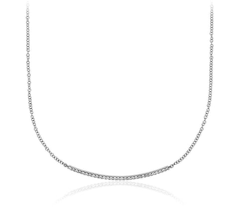 1/4 CT. Diamond Bar Necklace in 14k White Gold