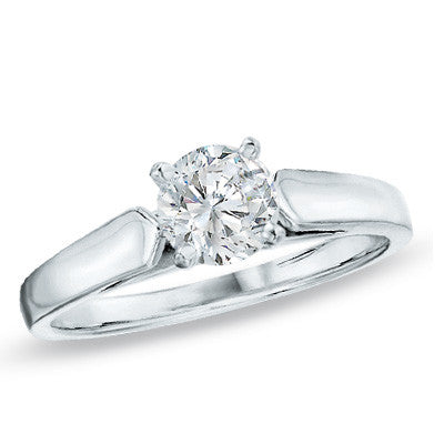 0.20 CT. Diamond Solitaire Crown Royal Engagement Ring in 14K White Gold