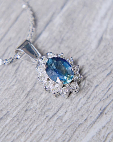 0.25 CT. Diamond/Sapphire Necklace in 14k White Gold