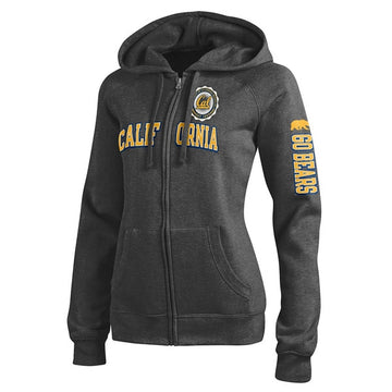 University Of California Berkeley Champion Women's Zip-Up Sweatshirt- Charcoal