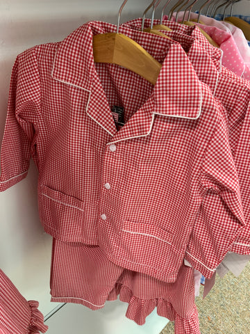 PRE ORDER Sweet Dreams Red Gingham Holiday PJ's with monogrammingi