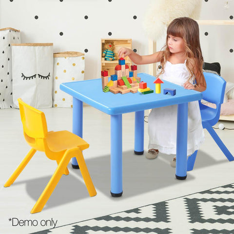 3 Piece Study Table and Chair Set - Blue