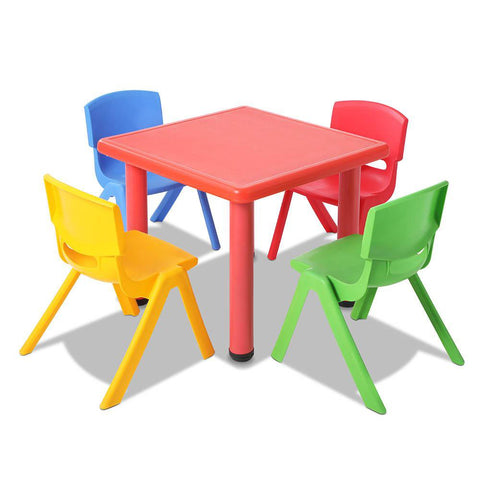 5 Piece Study Table and Chair Set - Red