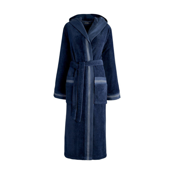 Couture Ocean Blue Bathrobe by Le Jacquard Français | Fig Linens - Bath robe with pockets and hood