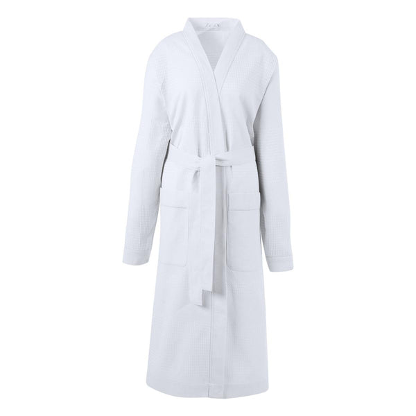Volupte White Bathrobe by Le Jacquard Français | Fig Linens - Bath robe with pockets and belt
