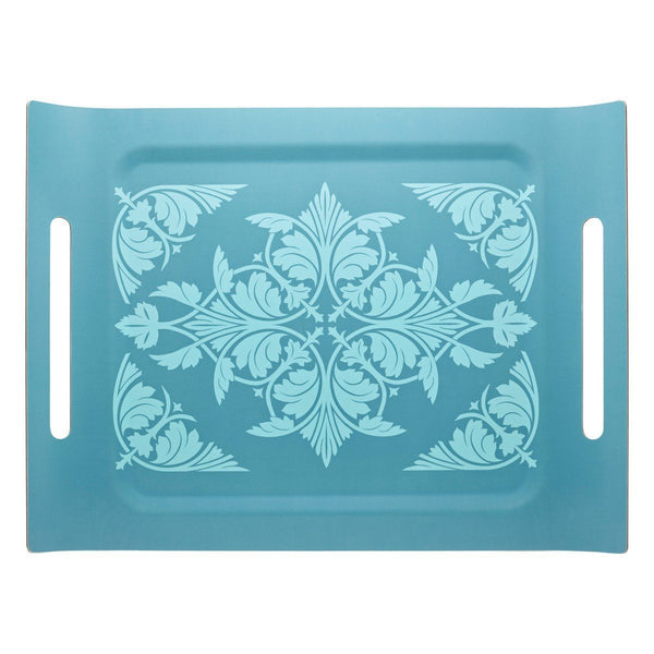 Syracuse Aqua Tray by Le Jacquard Français | Fig Linens - Blue, Wooden, Rectangular serving tray