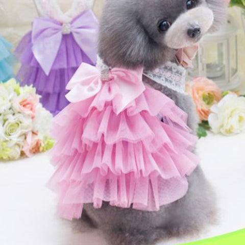 Dog Dress - Chiffon with Satin Bow