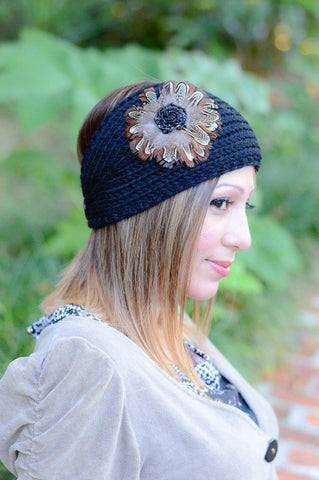 Black Womens Crochet Head Wrap With Applique Feather Flower