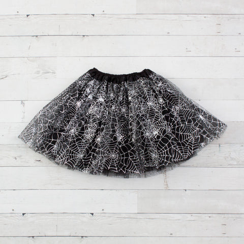 Girls Elastic Dance Tutu With Spider Webs