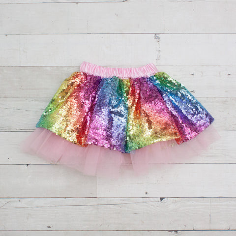 Rainbow Sequin Tutu Skirt