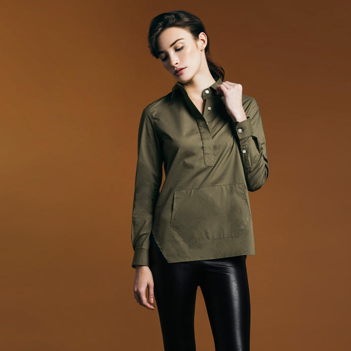 The Trapezoid Pullover - Matte Olive. Gape-Free Shirting.