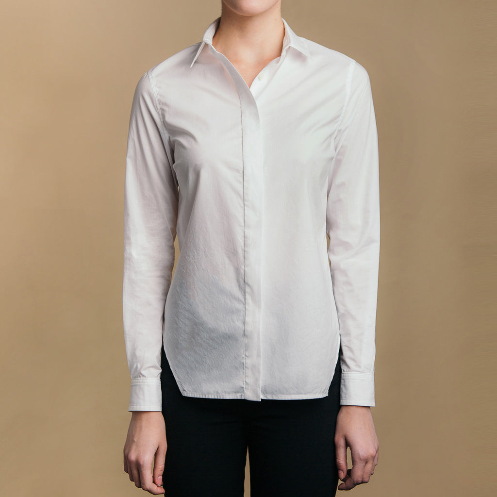 The Trapezoid Shirt - Paper White. Front view. Covered placket. Shell buttons.