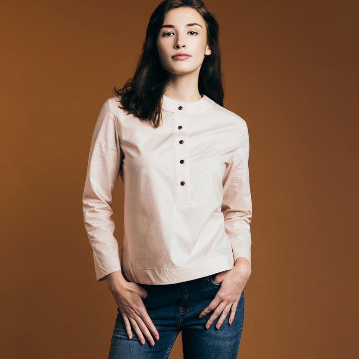 The Equilibrium Shirt - Dusty Blush. Gape-Free Shirting.