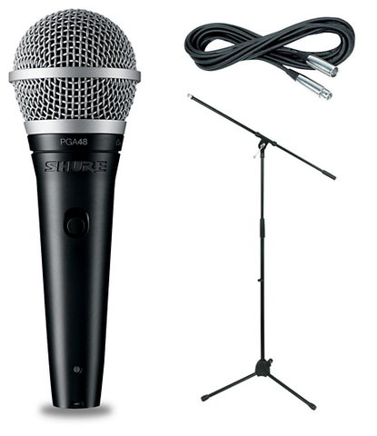 Shure PGA48-LC with Ultimate Support Microphone Stand & 25-Foot XLR-XLR Cable Package - Sonido Live