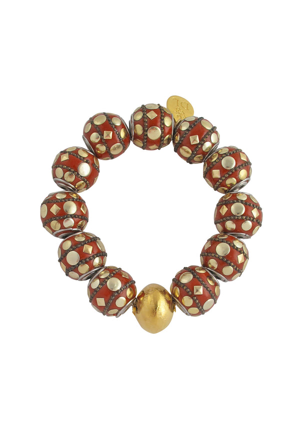 Devon Leigh statement bracelet with red enamel and 18k gold African beads