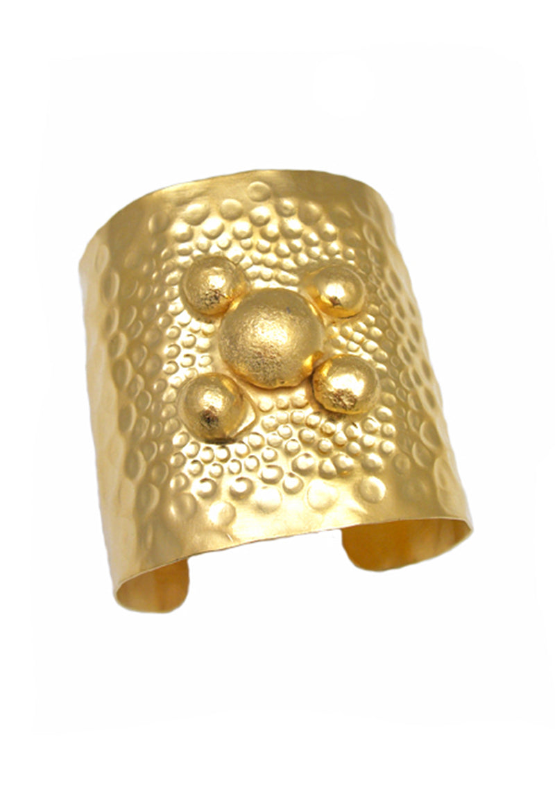 Gold Hammered Bubble Cuff
