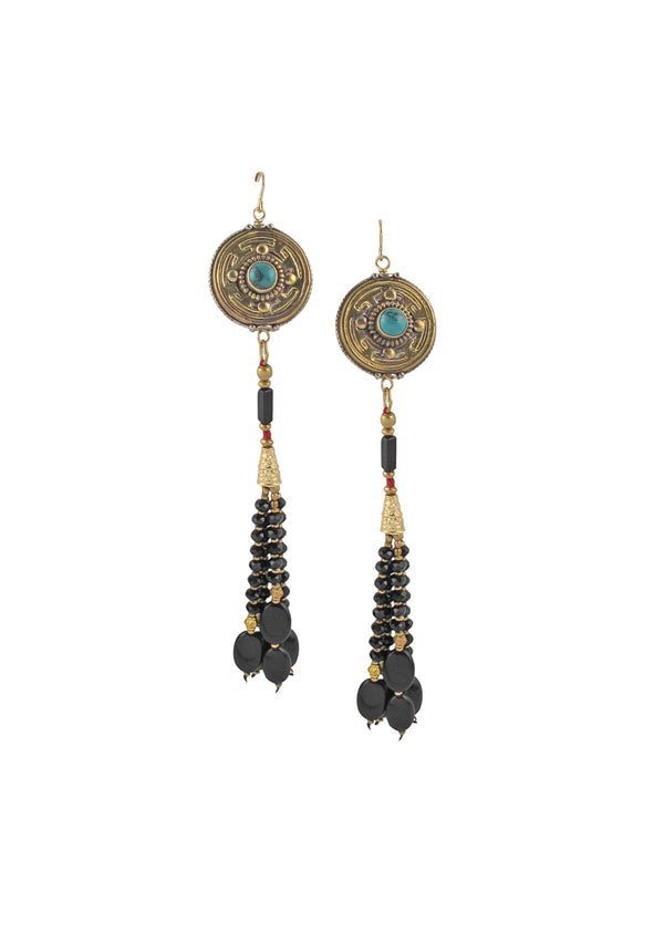 Antiqued Brass and Turquoise Black Onyx Tassel Earrings