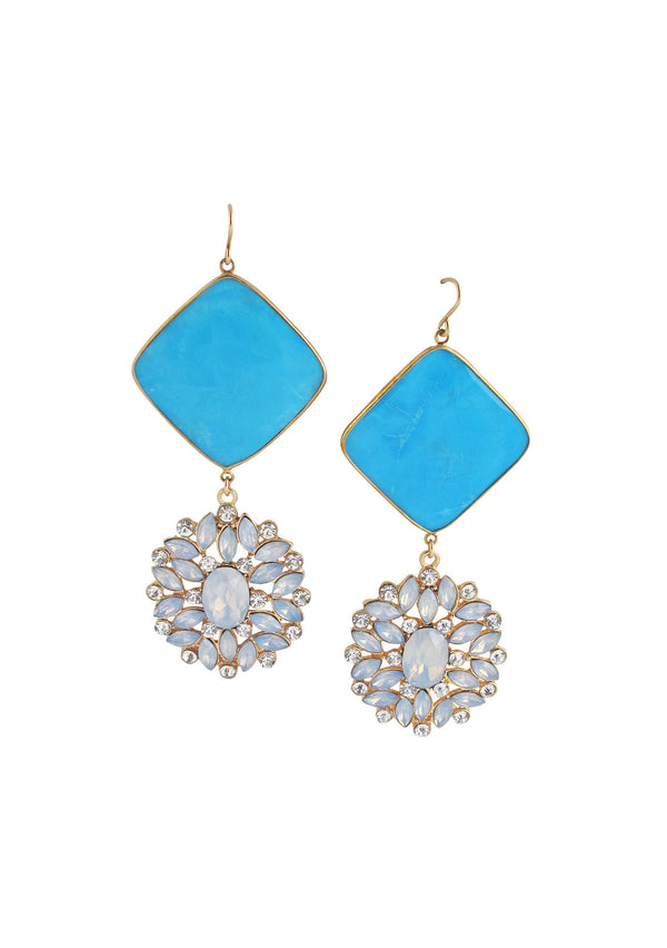Turquoise Bezel Crystal Earrings