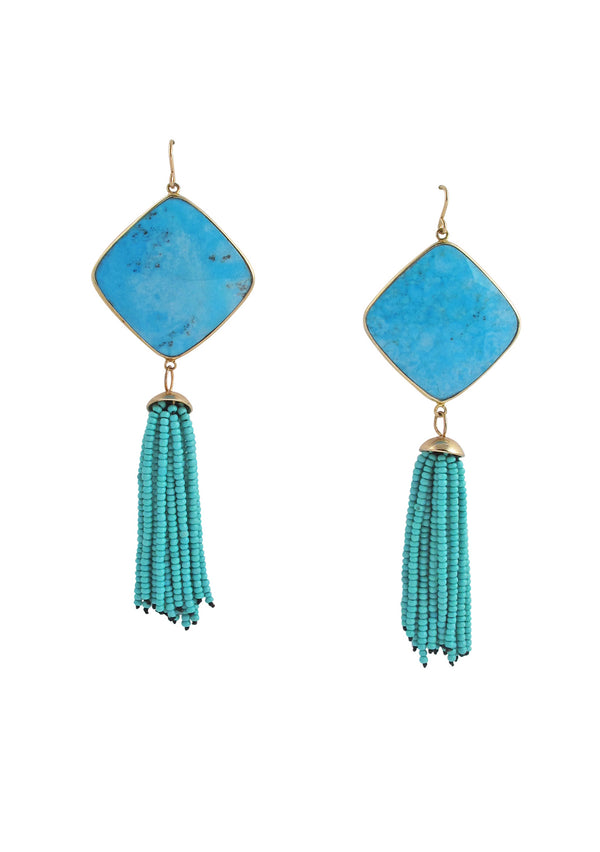 Turquoise Bezel Tassel Earrings