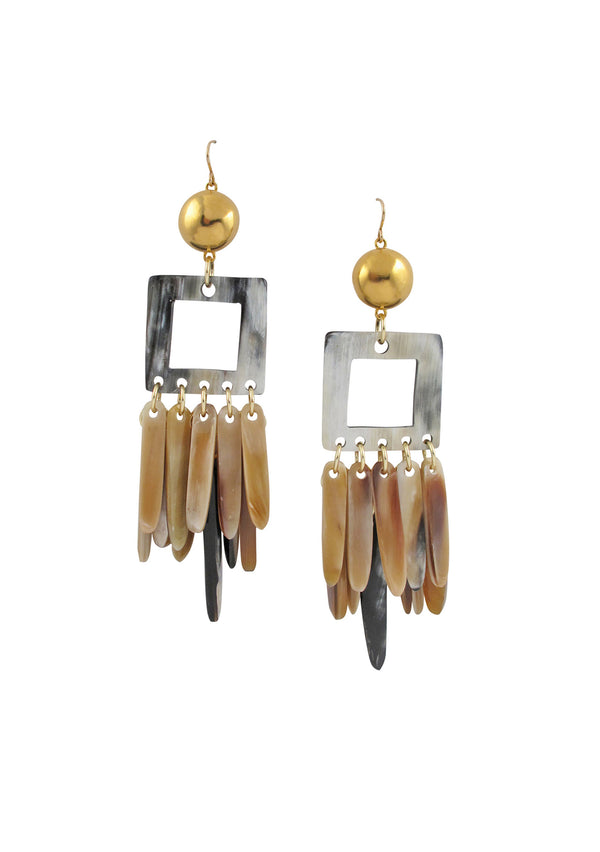 Horn Fringe Gold Accent Earrings