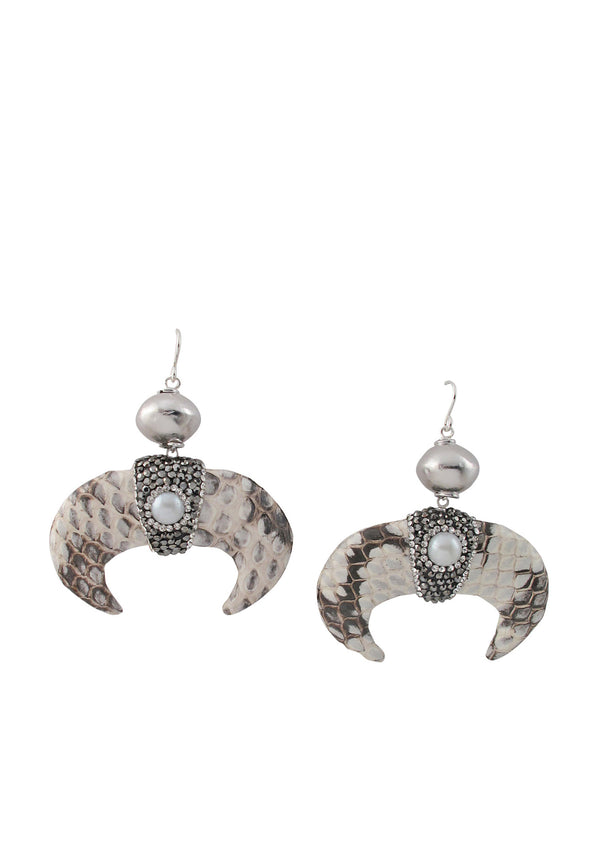 Animal Print Crystal Wedge Earrings