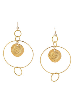 Large Gold Circle and Coin Earrings