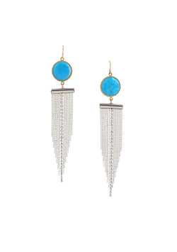 Turquoise Bezel Silver Toned Crystal Fringe Earrings