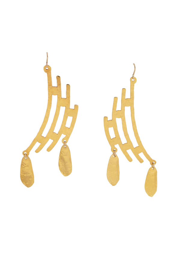 Hammered Gold Chanelier Earrings