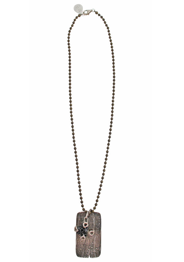 Oxidized Silver Dog Tag Drusy Pendant Necklace