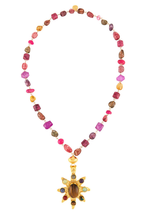 Gold Tiger's Eye Ethnic Pendant Multistone Station Necklace