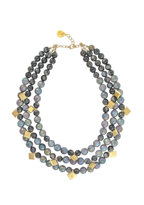 Double Length Labradorite Gold Necklace