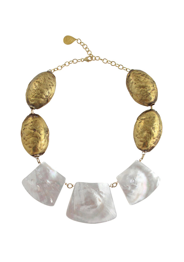 Devon Leigh one of a kind, triple white shell pendant necklace with authentic Nepalese brass beads